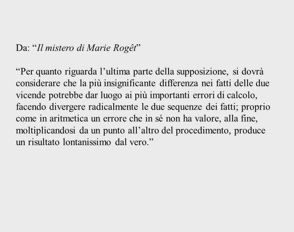 Da: Il mistero di Marie Rogêt Per quanto riguarda lultima parte della supposizione, si dovrà considerare che la più insignificante differenza nei fatt