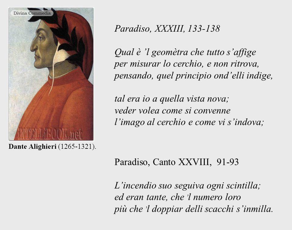 Dante Alighieri (1265-1321). Paradiso, XXXIII, 133-138 Qual è l geomètra che tutto saffige per misurar lo cerchio, e non ritrova, pensando, quel princ