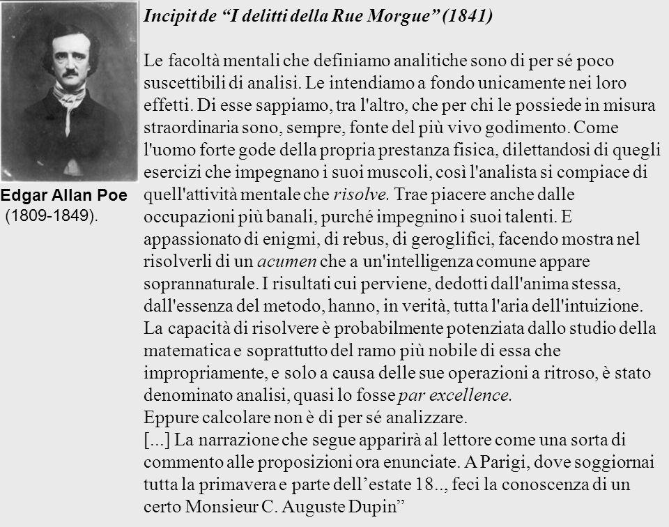 Incipit de I delitti della Rue Morgue (1841) Le facoltà mentali che definiamo analitiche sono di per sé poco suscettibili di analisi. Le intendiamo a