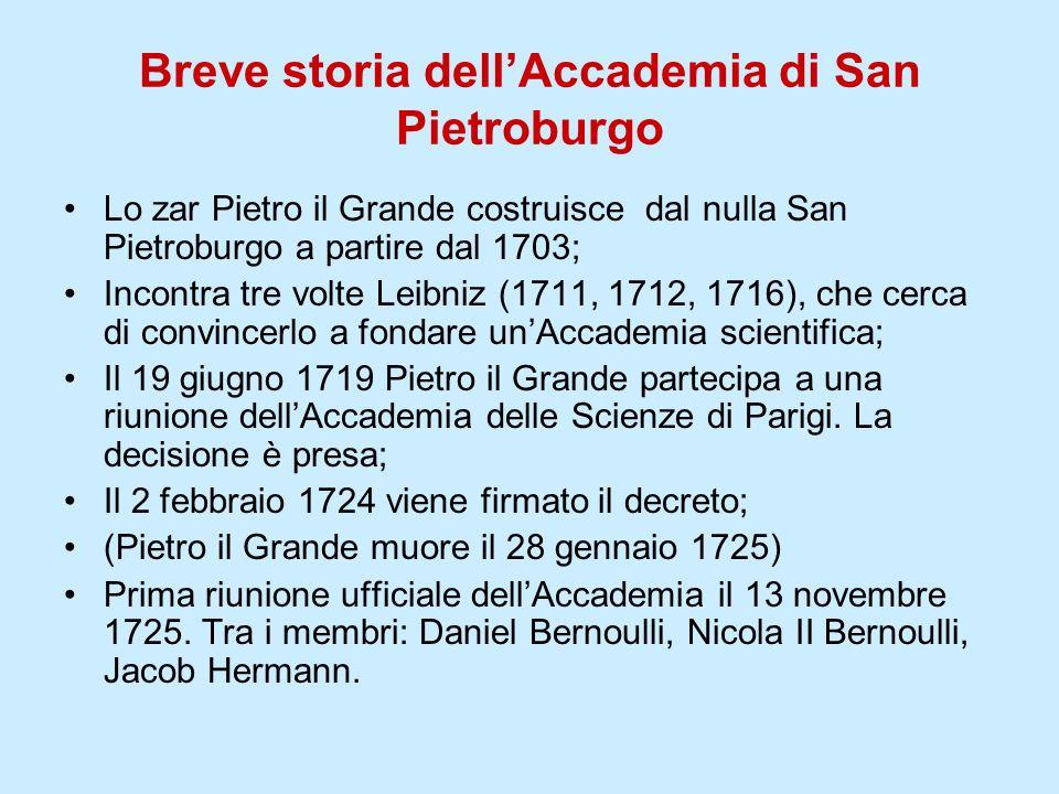 Breve storia dellAccademia di San Pietroburgo Lo zar Pietro il Grande costruisce dal nulla San Pietroburgo a partire dal 1703; Incontra tre volte Leib