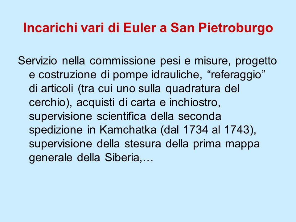 Incarichi vari di Euler a San Pietroburgo Servizio nella commissione pesi e misure, progetto e costruzione di pompe idrauliche, referaggio di articoli