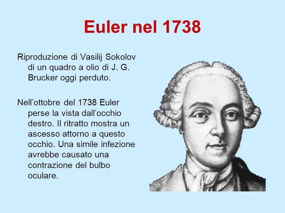 Euler nel 1738 Riproduzione di Vasilij Sokolov di un quadro a olio di J. G. Brucker oggi perduto. Nellottobre del 1738 Euler perse la vista dallocchio