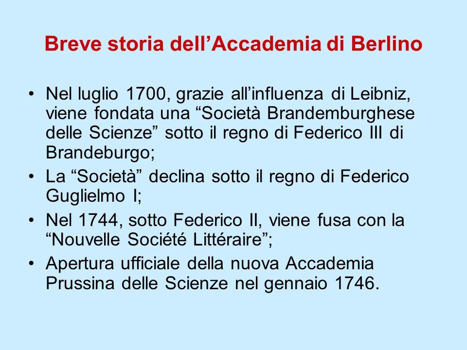 Breve storia dellAccademia di Berlino Nel luglio 1700, grazie allinfluenza di Leibniz, viene fondata una Società Brandemburghese delle Scienze sotto i