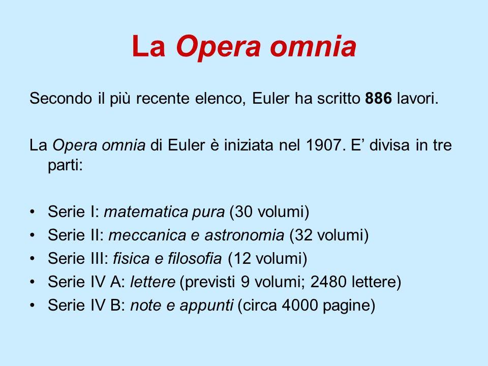 La Opera omnia Secondo il più recente elenco, Euler ha scritto 886 lavori. La Opera omnia di Euler è iniziata nel 1907. E divisa in tre parti: Serie I