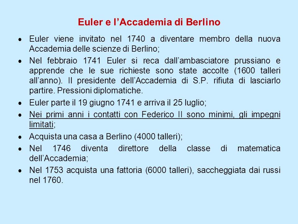 Euler e lAccademia di Berlino Euler viene invitato nel 1740 a diventare membro della nuova Accademia delle scienze di Berlino; Nel febbraio 1741 Euler