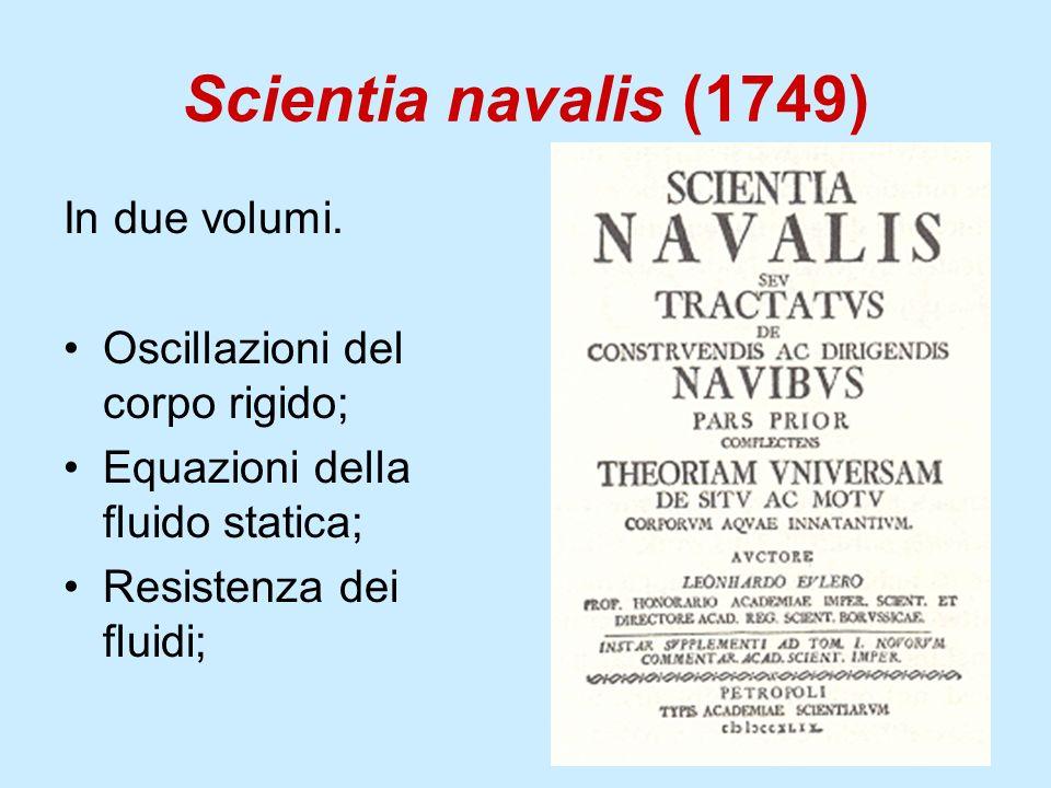 Scientia navalis (1749) In due volumi. Oscillazioni del corpo rigido; Equazioni della fluido statica; Resistenza dei fluidi;