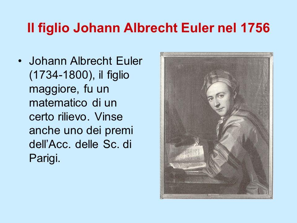 Il figlio Johann Albrecht Euler nel 1756 Johann Albrecht Euler (1734-1800), il figlio maggiore, fu un matematico di un certo rilievo. Vinse anche uno