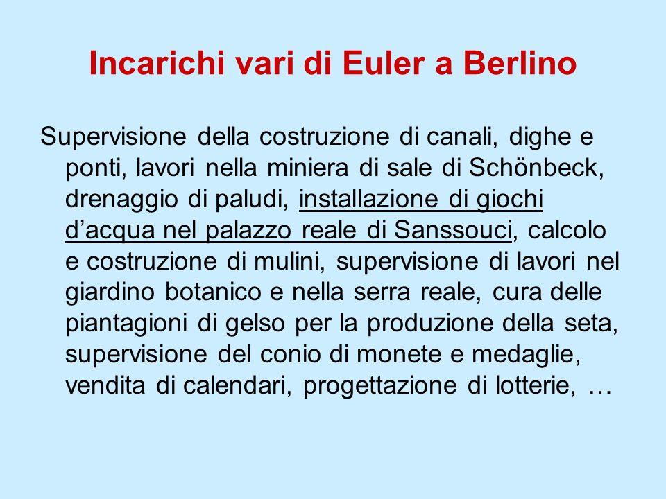 Incarichi vari di Euler a Berlino Supervisione della costruzione di canali, dighe e ponti, lavori nella miniera di sale di Schönbeck, drenaggio di pal