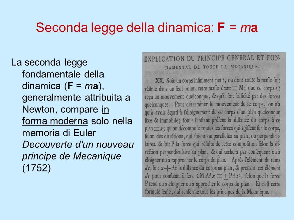 Seconda legge della dinamica: F = ma La seconda legge fondamentale della dinamica (F = ma), generalmente attribuita a Newton, compare in forma moderna