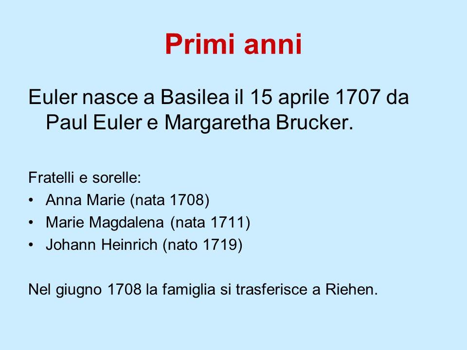 Primi anni Euler nasce a Basilea il 15 aprile 1707 da Paul Euler e Margaretha Brucker. Fratelli e sorelle: Anna Marie (nata 1708) Marie Magdalena (nat