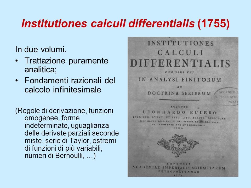Institutiones calculi differentialis (1755) In due volumi. Trattazione puramente analitica; Fondamenti razionali del calcolo infinitesimale (Regole di