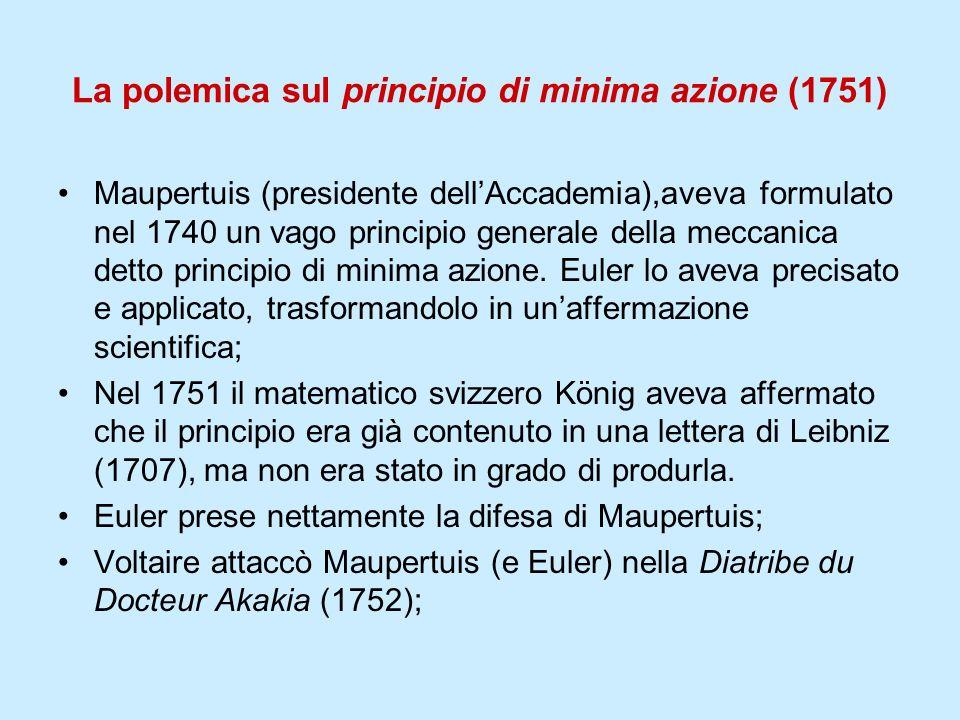 La polemica sul principio di minima azione (1751) Maupertuis (presidente dellAccademia),aveva formulato nel 1740 un vago principio generale della mecc