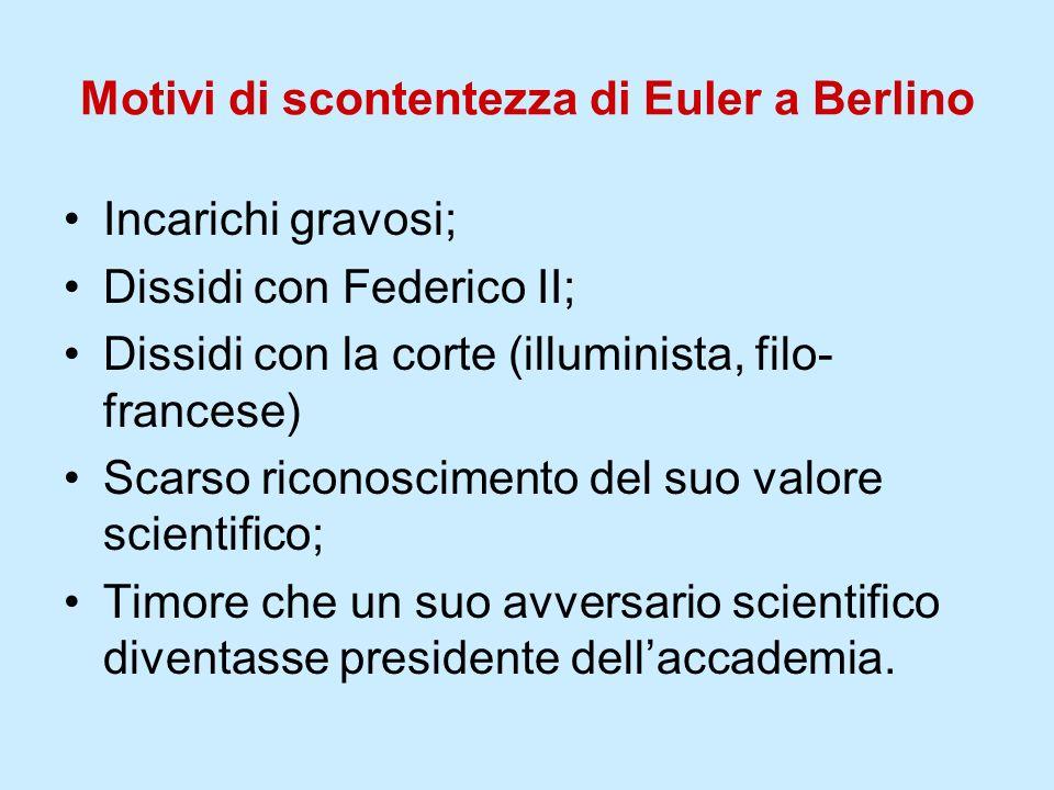 Motivi di scontentezza di Euler a Berlino Incarichi gravosi; Dissidi con Federico II; Dissidi con la corte (illuminista, filo- francese) Scarso ricono