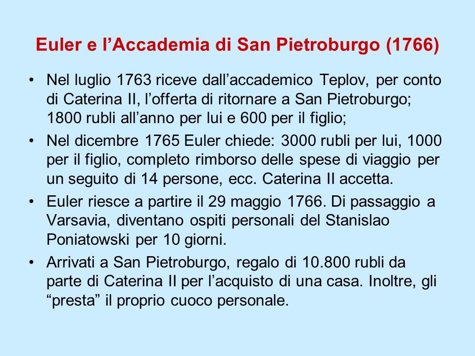 Euler e lAccademia di San Pietroburgo (1766) Nel luglio 1763 riceve dallaccademico Teplov, per conto di Caterina II, lofferta di ritornare a San Pietr
