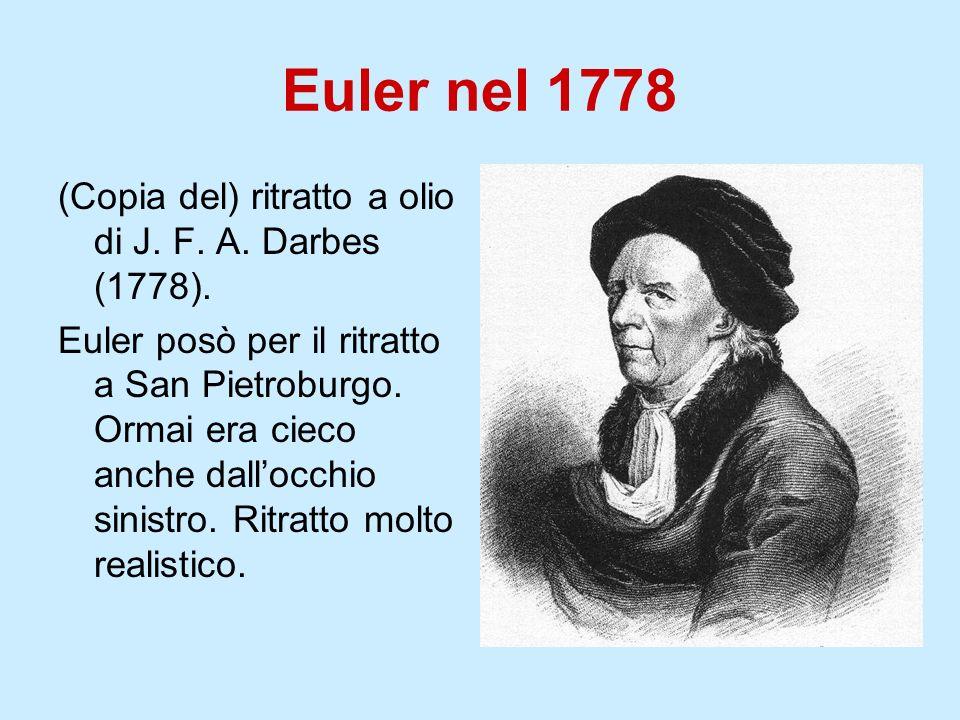 Euler nel 1778 (Copia del) ritratto a olio di J. F. A. Darbes (1778). Euler posò per il ritratto a San Pietroburgo. Ormai era cieco anche dallocchio s
