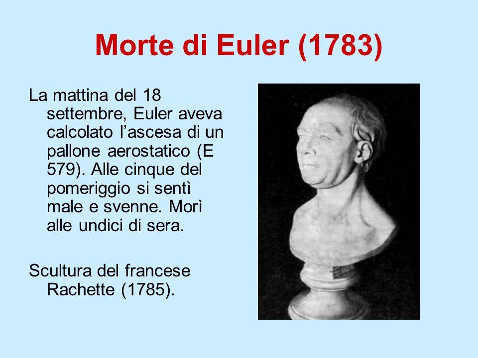Morte di Euler (1783) La mattina del 18 settembre, Euler aveva calcolato lascesa di un pallone aerostatico (E 579). Alle cinque del pomeriggio si sent