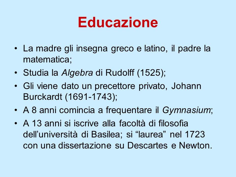 Il Maestro: Johann I Bernoulli (1667-1748) Alluniversità di Basilea insegnava Johann I Bernoulli, il più grande matematico dellepoca, che accetta di dargli lezioni private.