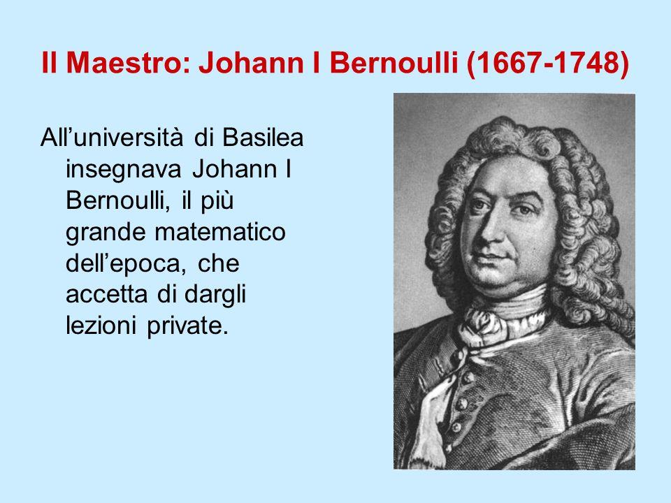 Il Maestro: Johann I Bernoulli (1667-1748) Alluniversità di Basilea insegnava Johann I Bernoulli, il più grande matematico dellepoca, che accetta di d
