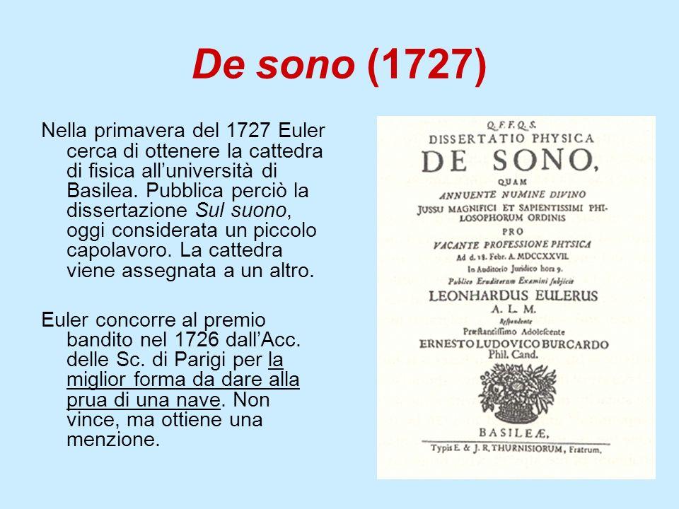 De sono (1727) Nella primavera del 1727 Euler cerca di ottenere la cattedra di fisica alluniversità di Basilea. Pubblica perciò la dissertazione Sul s
