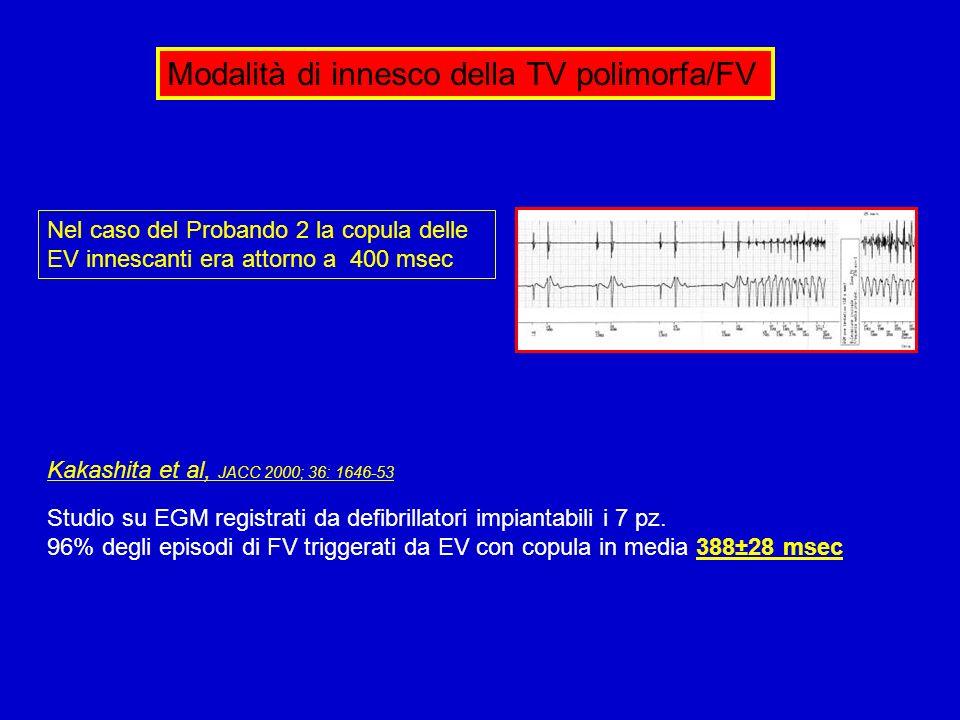 Modalità di innesco della TV polimorfa/FV Kakashita et al, JACC 2000; 36: 1646-53 Studio su EGM registrati da defibrillatori impiantabili i 7 pz. 96%