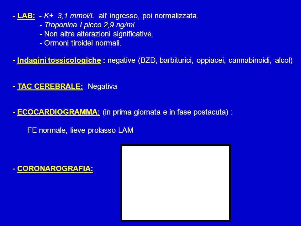 - LAB: - K+ 3,1 mmol/L all ingresso, poi normalizzata. - Troponina I picco 2,9 ng/ml - Non altre alterazioni significative. - Ormoni tiroidei normali.
