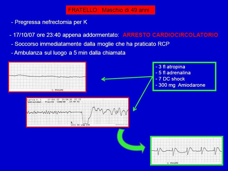 FRATELLO: Maschio di 49 anni - Pregressa nefrectomia per K - 17/10/07 ore 23:40 appena addormentato: ARRESTO CARDIOCIRCOLATORIO - Soccorso immediatame