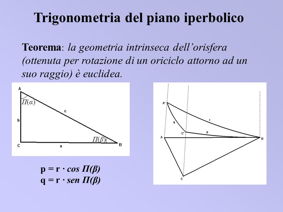 Teorema : la geometria intrinseca dellorisfera (ottenuta per rotazione di un oriciclo attorno ad un suo raggio) è euclidea. Trigonometria del piano ip