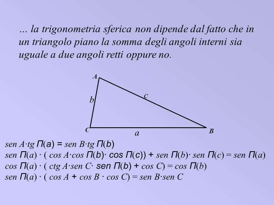 … la trigonometria sferica non dipende dal fatto che in un triangolo piano la somma degli angoli interni sia uguale a due angoli retti oppure no. C A