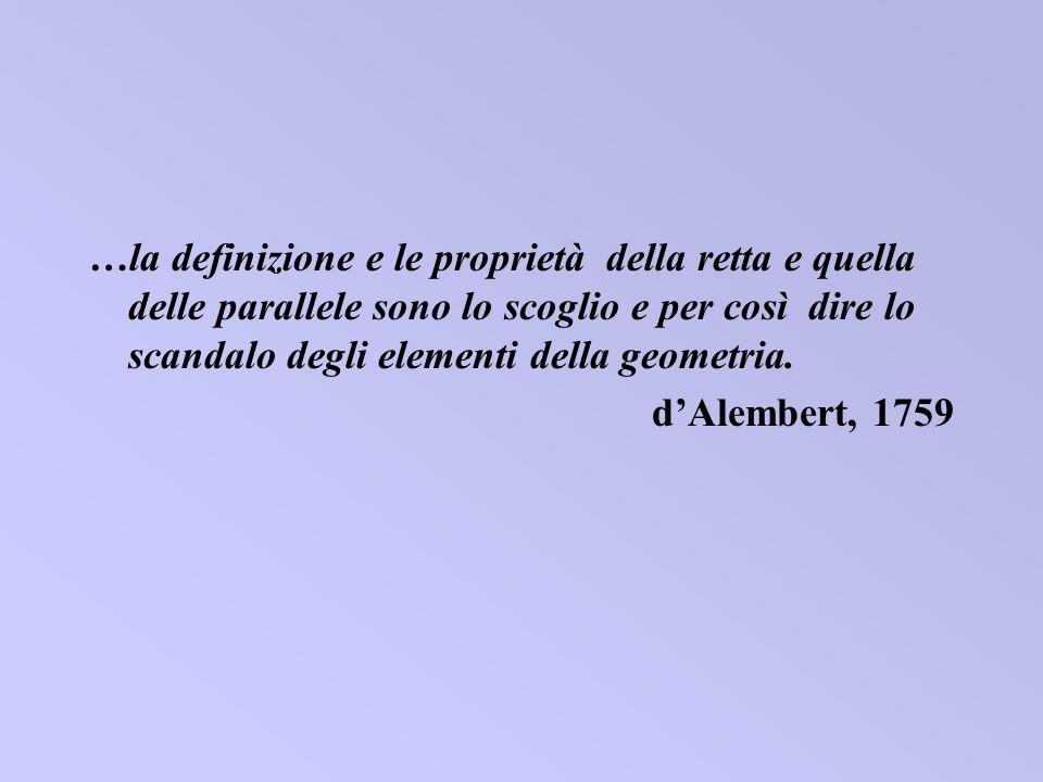 …la definizione e le proprietà della retta e quella delle parallele sono lo scoglio e per così dire lo scandalo degli elementi della geometria. dAlemb