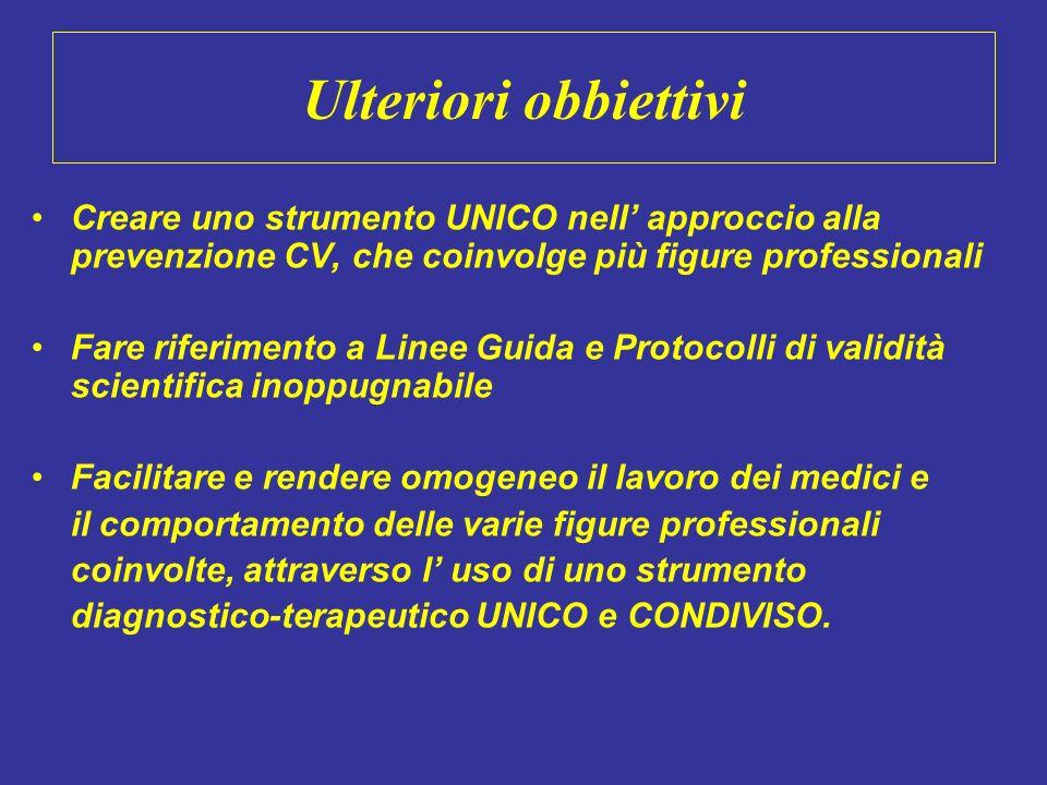 Ulteriori obbiettivi Creare uno strumento UNICO nell approccio alla prevenzione CV, che coinvolge più figure professionali Fare riferimento a Linee Gu