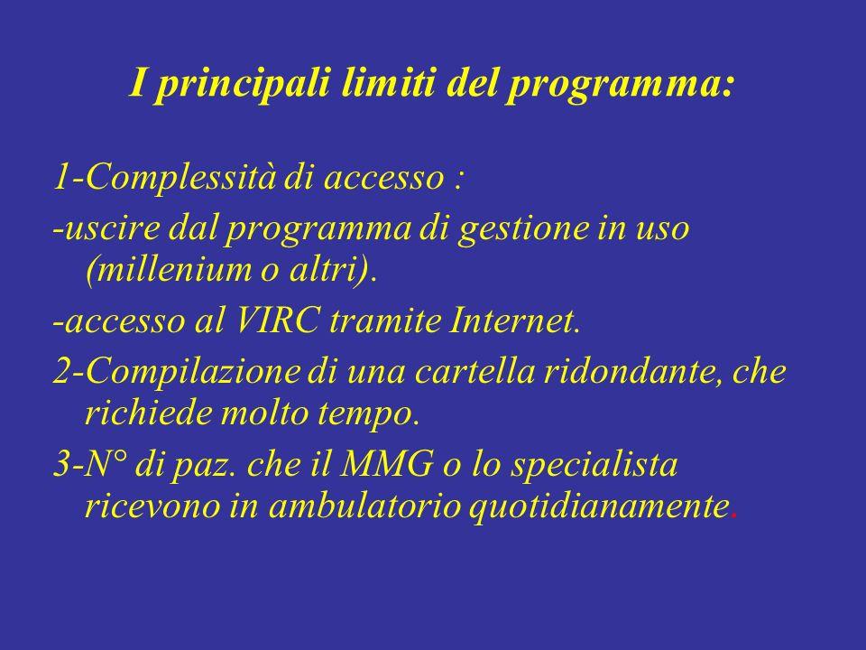 I principali limiti del programma: 1-Complessità di accesso : -uscire dal programma di gestione in uso (millenium o altri). -accesso al VIRC tramite I