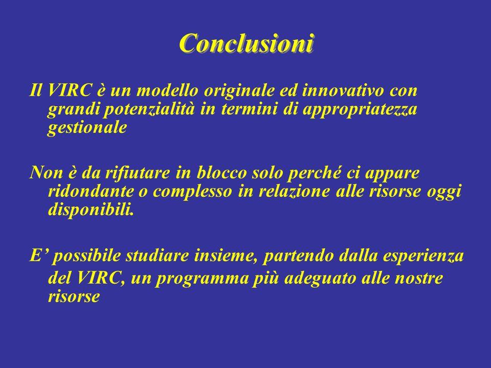 Conclusioni Il VIRC è un modello originale ed innovativo con grandi potenzialità in termini di appropriatezza gestionale Non è da rifiutare in blocco
