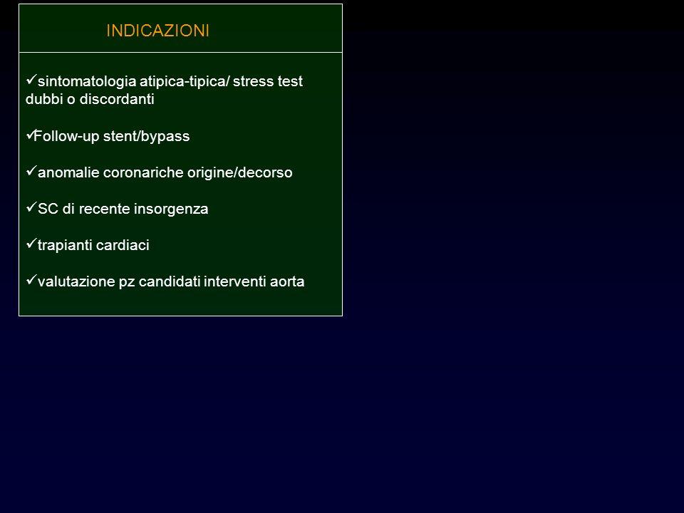 sintomatologia atipica-tipica/ stress test dubbi o discordanti Follow-up stent/bypass anomalie coronariche origine/decorso SC di recente insorgenza tr