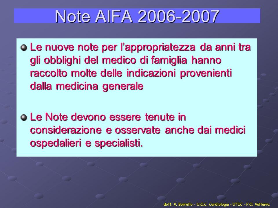 Note AIFA 2006-2007 Le nuove note per lappropriatezza da anni tra gli obblighi del medico di famiglia hanno raccolto molte delle indicazioni provenien