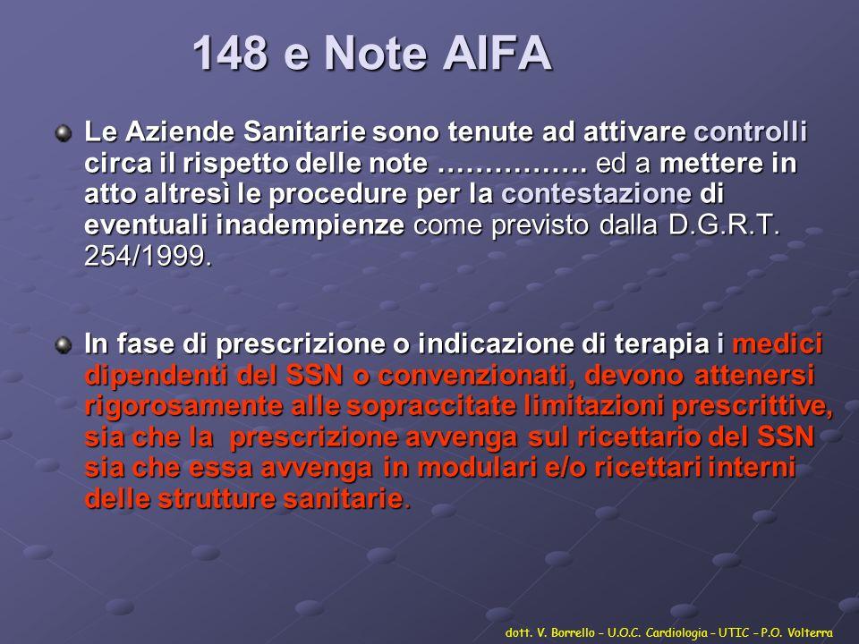 148 e Note AIFA Le Aziende Sanitarie sono tenute ad attivare controlli circa il rispetto delle note ……………. ed a mettere in atto altresì le procedure p
