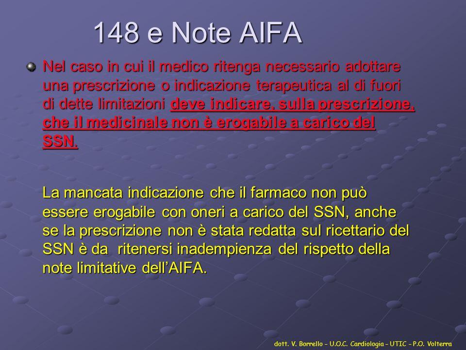148 e Note AIFA Nel caso in cui il medico ritenga necessario adottare una prescrizione o indicazione terapeutica al di fuori di dette limitazioni deve