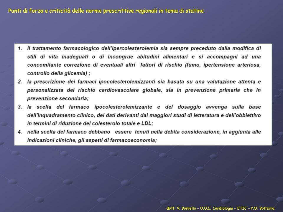 dott. V. Borrello – U.O.C. Cardiologia – UTIC – P.O. Volterra Punti di forza e criticità delle norme prescrittive regionali in tema di statine