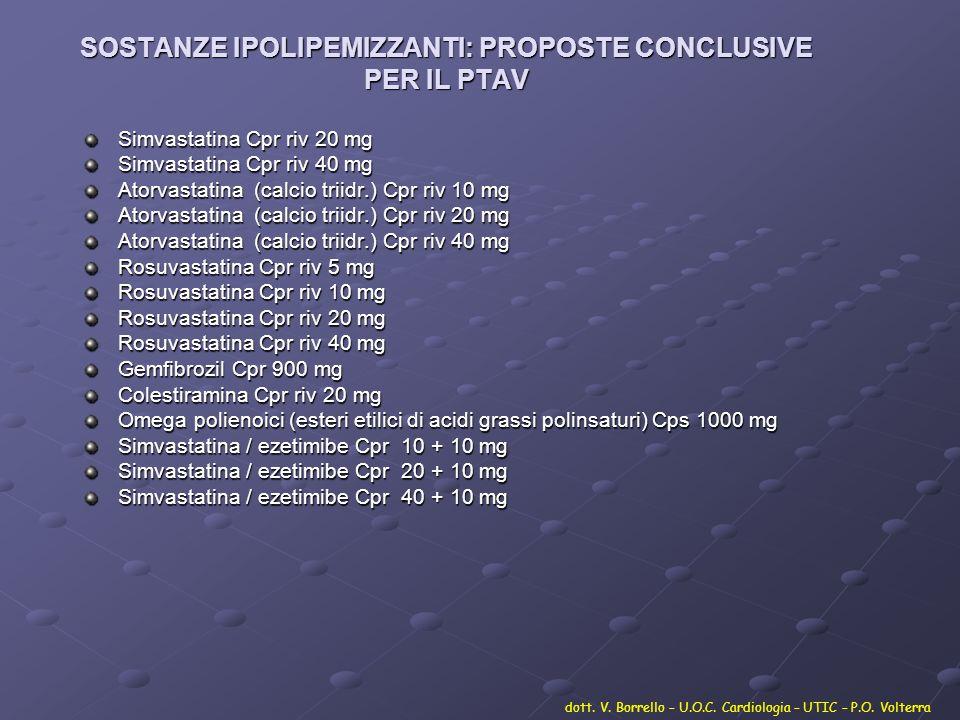 SOSTANZE IPOLIPEMIZZANTI: PROPOSTE CONCLUSIVE PER IL PTAV Simvastatina Cpr riv 20 mg Simvastatina Cpr riv 40 mg Atorvastatina (calcio triidr.) Cpr riv