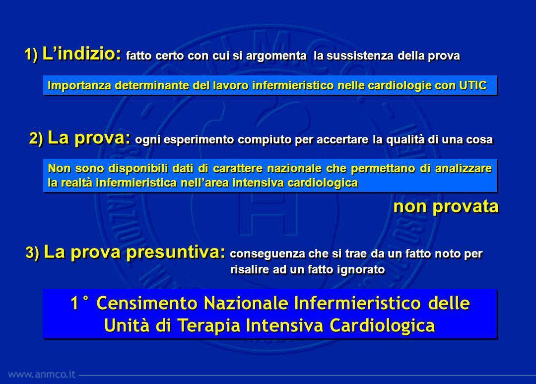Importanza determinante del lavoro infermieristico nelle cardiologie con UTIC Non sono disponibili dati di carattere nazionale che permettano di anali