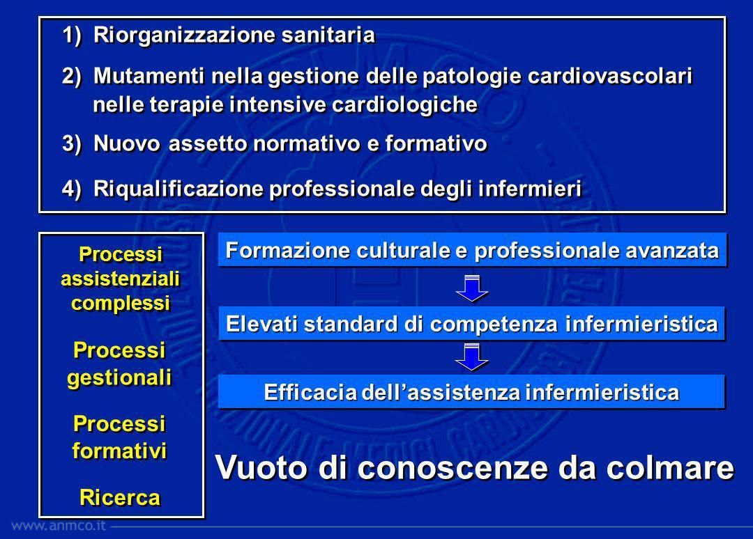 Formazione culturale e professionale avanzata Elevati standard di competenza infermieristica Efficacia dellassistenza infermieristica Processi assiste
