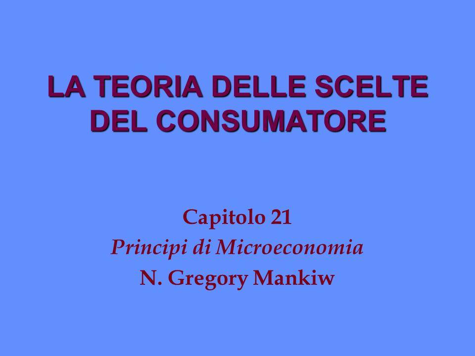Ottimizzazione: come il consumatore sceglie n Lottimo del consumatore si ha nel punto in cui il consumo corrisponde alla curva di indifferenza più elevata tra quelle compatibili col vincolo di bilancio.