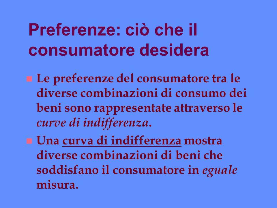 Preferenze: ciò che il consumatore desidera n Le preferenze del consumatore tra le diverse combinazioni di consumo dei beni sono rappresentate attrave