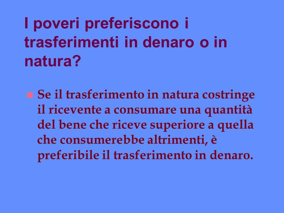 I poveri preferiscono i trasferimenti in denaro o in natura? n Se il trasferimento in natura costringe il ricevente a consumare una quantità del bene