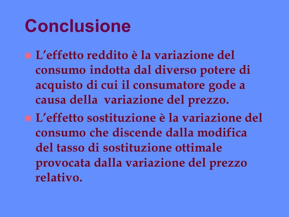Conclusione n Leffetto reddito è la variazione del consumo indotta dal diverso potere di acquisto di cui il consumatore gode a causa della variazione