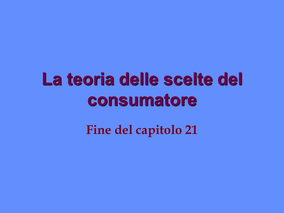 La teoria delle scelte del consumatore Fine del capitolo 21