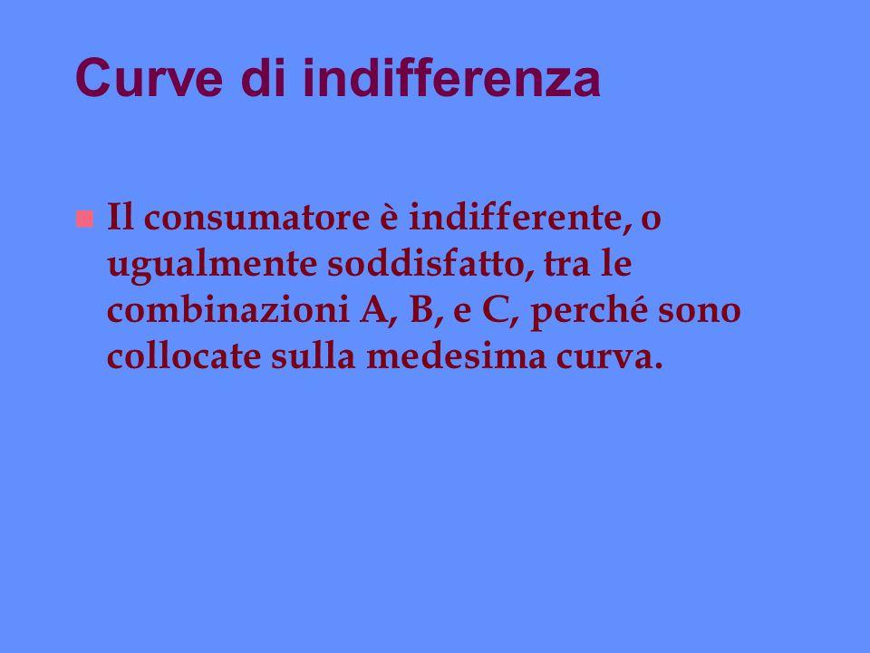 Curve di indifferenza n Il consumatore è indifferente, o ugualmente soddisfatto, tra le combinazioni A, B, e C, perché sono collocate sulla medesima c