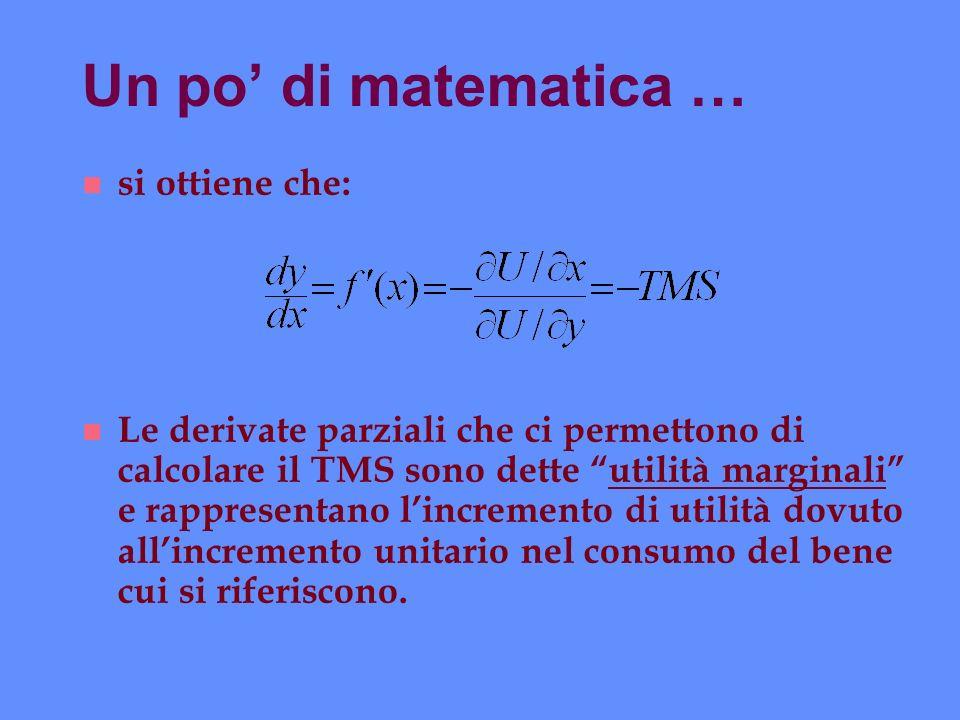 Un po di matematica … n si ottiene che: n Le derivate parziali che ci permettono di calcolare il TMS sono dette utilità marginali e rappresentano linc