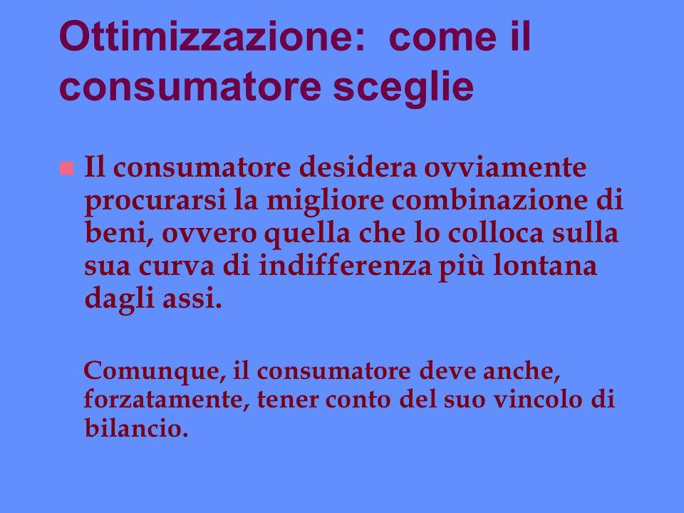 Ottimizzazione: come il consumatore sceglie n Il consumatore desidera ovviamente procurarsi la migliore combinazione di beni, ovvero quella che lo col
