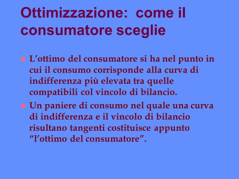 Ottimizzazione: come il consumatore sceglie n Lottimo del consumatore si ha nel punto in cui il consumo corrisponde alla curva di indifferenza più ele