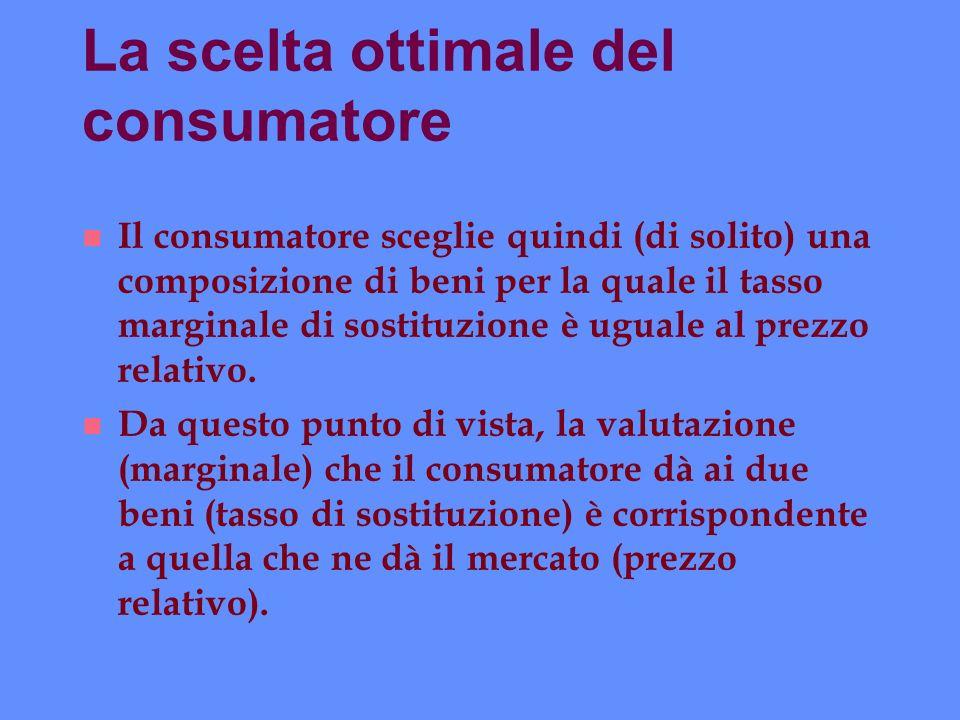 La scelta ottimale del consumatore n Il consumatore sceglie quindi (di solito) una composizione di beni per la quale il tasso marginale di sostituzion